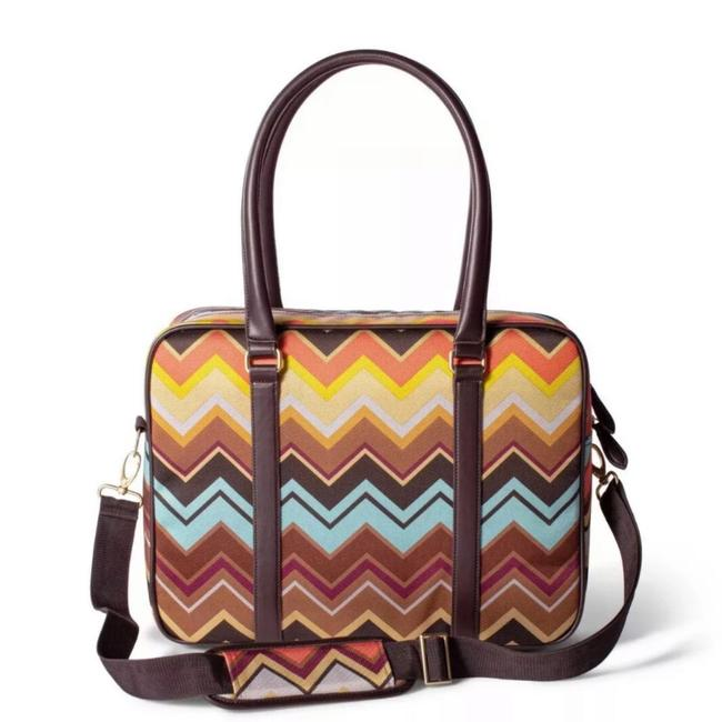 """Item - 12""""X16"""" Tote Colore Zig Zag Print Fabric Weekend/Travel Bag"""