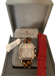 Michele Silver Deco Stainless Mother of Pearl Diamond Dial Model MWW06P00014 Watch