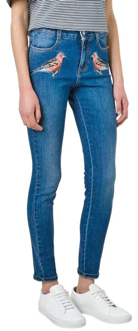 Item - Deep Classic Blue Medium Wash Embellished Vegan Embroidered Bird Sparrow Stretch Skinny Jeans Size 25 (2, XS)