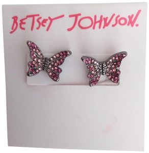 Betsey Johnson Betsey Johnson New Pink Pave Butterfly Earrings
