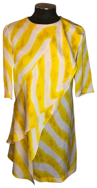 Item - Yellow & White Diagonal Tiered Ruffle Short Cocktail Dress Size 4 (S)