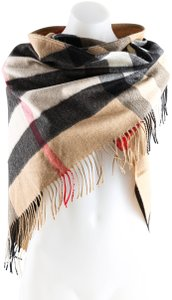 Burberry Burberry Camel Bandana In Check Cashmere Scarf