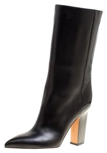 Valentino Leather Midcalf Pointed Toe Black Boots