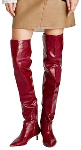 Zara Red patent crinkle leather Boots
