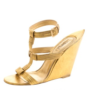 Saint Laurent Metallic Leather Wedge Gold Sandals