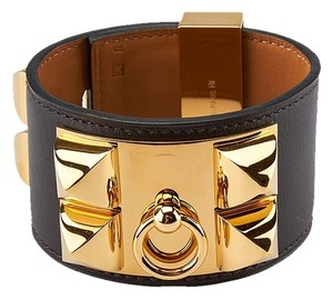 Hermes Hermes Collier de Chien Brown Leather & Gold-tone Cuff Bracelet (38775)