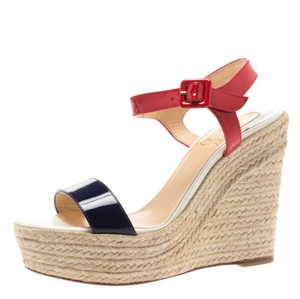 Christian Louboutin Patent Leather Espadrille Wedge Red Sandals