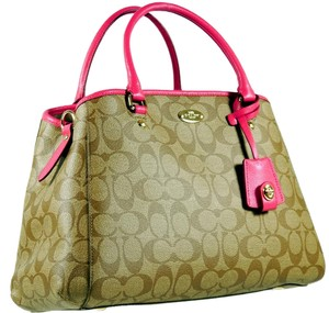 Coach Satchel in Khaki Saddle and Hot Pink