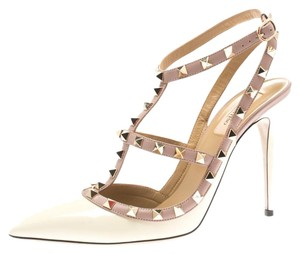 Valentino Patent Leather Pointed Toe White Sandals