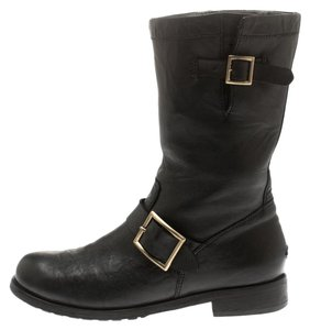 Jimmy Choo Leather Rubber Black Boots