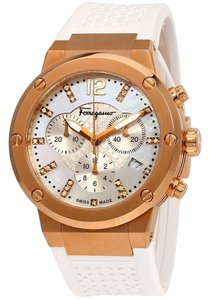 Salvatore Ferragamo Mother of Pearl Rose Gold Ion-Plated Steel F-80 Women's Wristwatch39MM