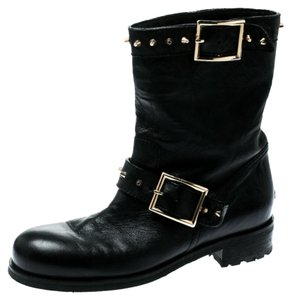 Jimmy Choo Leather Studded Rubber Black Boots