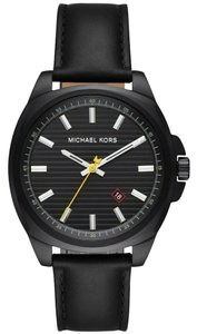 Michael Kors NWT Michael Kors Men's Bryson Black-Tone and Leather Watch MK8632