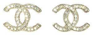 Chanel Chanel Moscova CLASSIC Gold and Crystal CC Logo Iconic Earrings