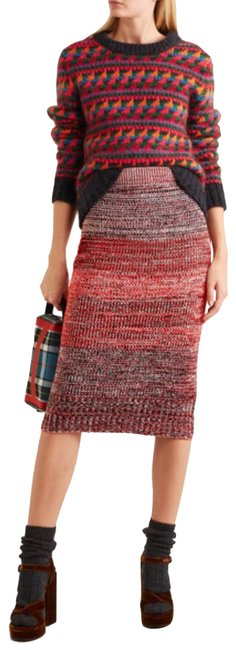 Item - Multi Color Runway Cashmere Cotton Wool Blend Mouliné In Red Skirt Size 0 (XS, 25)