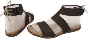 Naot Footbed Larissa Ankle Strap Woman Size 38/7 Made In Israel black Sandals