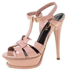 Saint Laurent Patent Leather Platform Beige Sandals