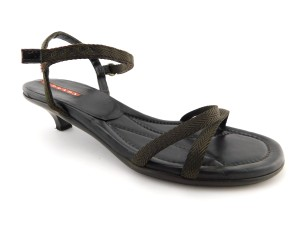 Prada Sport Double Strap Low Heel Open Toe Ankle Strap Chocolate Brown Sandals