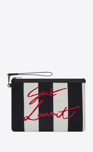 Saint Laurent Wristlet in Black White