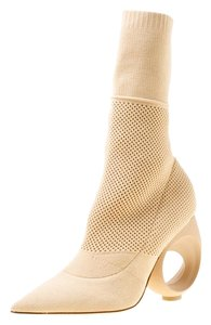 Burberry Cotton Knit Midcalf Pointed Toe Beige Boots