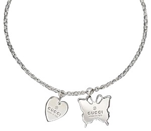 Gucci Trademark Sterling 925 Necklace Heart & Butterfly