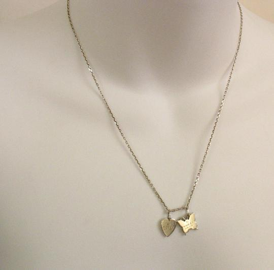Gucci Trademark Sterling 925 Necklace Heart & Butterfly Image 2