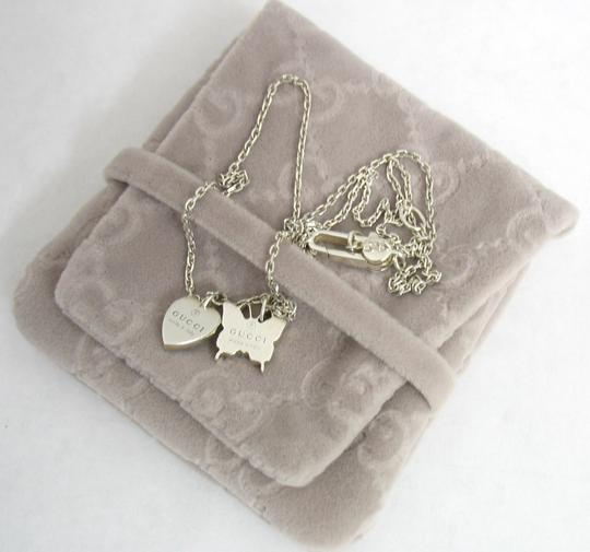Gucci Trademark Sterling 925 Necklace Heart & Butterfly Image 9