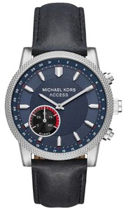 Michael Kors NEW Access Men's Scout Silver Black Leather Hybrid Smartwatch MKT4024