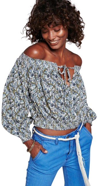 Item - Multi-color Printed Anything Goes Off The Shoulder Printed Crop Blouse Size 6 (S)