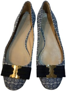 Tory Burch Print Nautical Preppy Bow Gemini Chain Blue Flats
