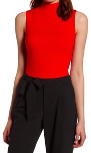 Halogen Sleek + Smooth Layer Or Not Dress Up Or Down Funnel Neck Sleek Soft Top Red