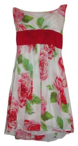 B. Darlin short dress White with Pink and Red Floral Design on Tradesy