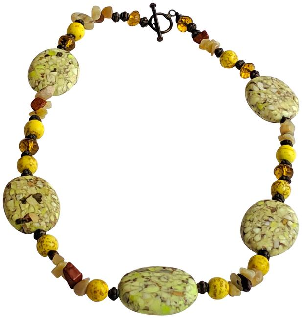 Item - Yellow/Green and Copper Gemstone 17 In. Necklace