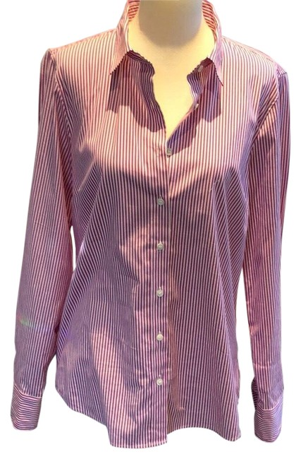 Item - Pink and White Striped Stretch Cotton Fit Button-down Top Size 8 (M)
