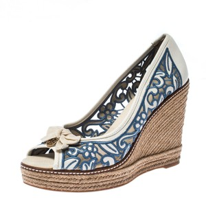 Tory Burch Leather Espadrille Wedge Embroidered White Pumps