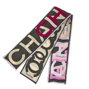 Chanel Authentic CHANEL CC Logos Twilly Bandeau Scarf 100% Silk Gray Pink Ita