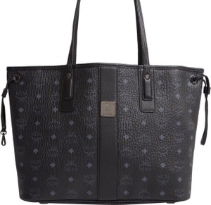 MCM Tote in black on one side, gingham on reverse side black and white