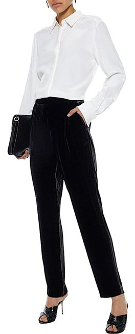 Item - Black with Tag Pleated Velvet Straight-leg Pants Size 4 (S, 27)