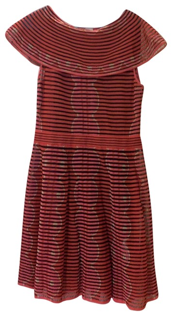 Item - Multi Orange Pink with Black Knit Day Mid-length Short Casual Dress Size 12 (L)