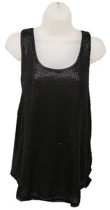 Diane Von Furstenberg Sequin Scoop Neck Rounded Hem Top Black