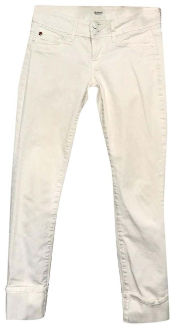 Item - White Ginny Crop Straight Flap Pocket Cuffed Capri/Cropped Jeans Size 0 (XS, 25)