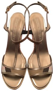 Burberry Gold with Novacheck fabric Wedges