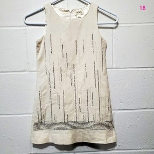 Cream Sequin Sleeveless Traditional Bridesmaid/Mob Dress Size OS (one size)