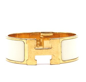 Hermès enamel plated H clic clac wide Bangle bracelet cuff PM