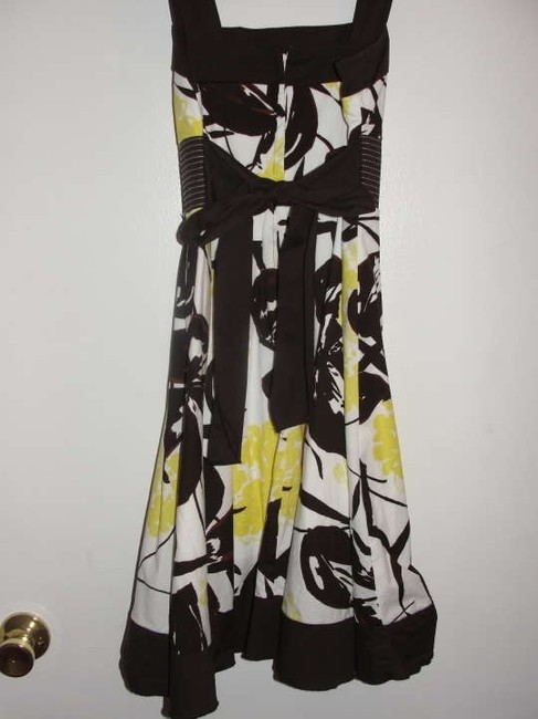 Speechless short dress White with Brown and Yellow Floral Design on Tradesy