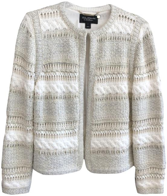 Item - Cream Silver White Couture Metallic Accent Evening Sweater Jacket Size 8 (M)