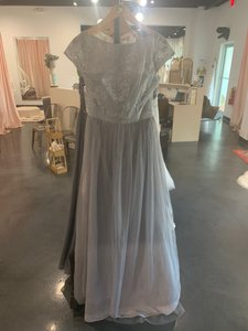 Silver/Pewter Mesh Sparkle 5805 Traditional Bridesmaid/Mob Dress Size 10 (M)