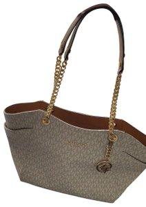 Michael Kors Satchel in tan and white