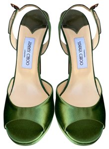 Jimmy Choo Satin Peep Toe Open Toe Stiletto Green Pumps