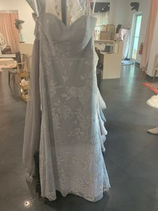 Silver/Pewter Mesh 5907 Traditional Bridesmaid/Mob Dress Size 10 (M)